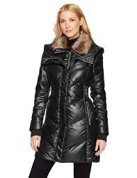 get ations french connection women s down coat with faux fur collar