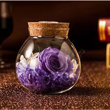 immortal flower gift glass bottle bao bao flowers small night light blue enchantress rose colorful light