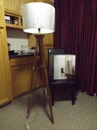 Tripod Floor Lamp Wood Base White Shade With Bulb Threshold New In Retail Box