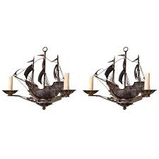 pair of nantucket old world iron sailing ship chandeliers for
