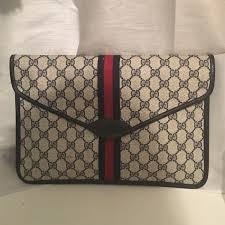 gucci clutch. vintage gucci monogram canvas envelope clutch gucci