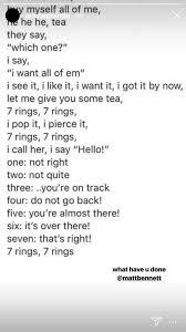 Ariana Grande Posts Lyrics Art For 7 Rings