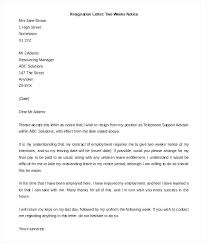 Resignation Letter With One Week Notice Andeshouse Co