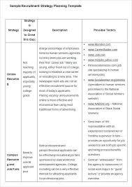 Recruiting Plan Template Hiring Plan Template Sample Recruitment Strategy Plan
