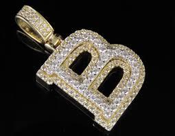 b initial custom letter diamond pendant charm in 10k two tone gold 1 4 5 ct 1 5