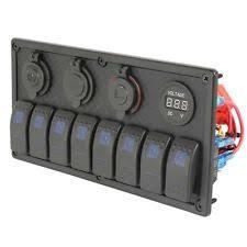 marine fuse panel electrical lighting waterproof 8 gang marine boat caravan blue led rocker switch panel 15a 4 fuse