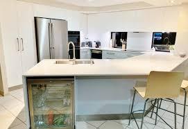elegant white and grey u shape kitchen renovation