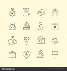 Outline Love And Wedding Thin Icons With Background With Colorful