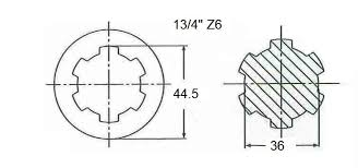 Spline Dimensions Chart Power Ratings And Dimensions Pto Shaft Technical
