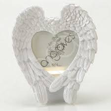 white angel wing heart photo frame tribute memorial 4 x 4 inch photoframe picture stand