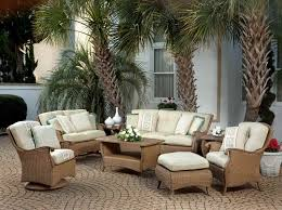 Contemporary Outdoor Family Room Area with Brown Wicker High Back