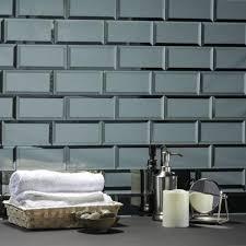 gray blue beveled glossy glass mirror l stick decorative bathroom wall tile backsplash 8 pk