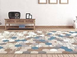 modern geometric area rug shades of beige brown blue gray white