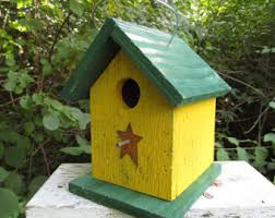 Wooden Yellow Rustic, Birdhouse, Handmade, Primitive Chickadee Wren Cute  Songbirds Hanging, Bird