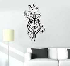 wolf wall decor vinyl decal vinyl decal sword wolf animal predator tribal decor wall wolf wall decor art
