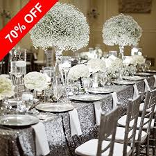 dining table decor. PONY DANCE Stylish Glitter Sequins Table Cloth Decorative Sequin Fabric Mesh Material Tablecloth Cover For Rectangle Tables Sparkly Party/Wedding/Christmas, Dining Decor A