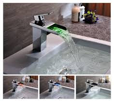 contemporary solid brass single handle led waterfall bathroom sink faucet chrome finish f 0510f