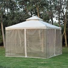 outsunny 10 x 10 black beige iron steel outdoor garden gazebo extendable sides for