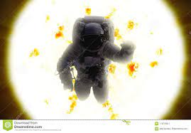 Astronaut In Outer Space. Sun Stock ...