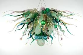 hand blown glass lighting art glass lamp green color led light source hand blown glass chandelier