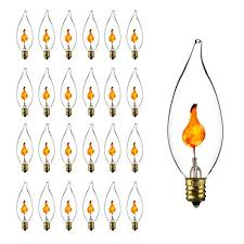 sunlite 3cfc 25pk 3w incandescent chandelier flickering flame light bulbs with candelabra e12 base and crystal clear 25 pack 40105 su