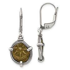 image unavailable image not available for color sterling silver antiqued widows mite coin leverback earrings