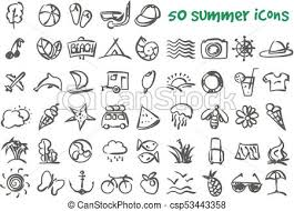 Summer Icons Vector Doodle Summer Icons Set