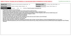 travel counselor automobile club resume vocational counselor resume