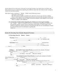 Custody Agreement Template Child Custody Agreement Form 67570 Joint Custody Agreement