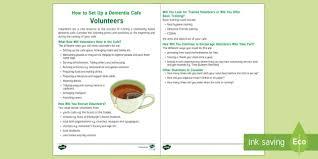 dementia fact sheet how to set up a dementia cafe volunteers fact sheet