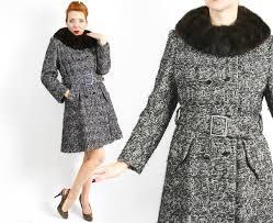 60s black tweed wool coat wool fur collar coat tweed winter coat patricia