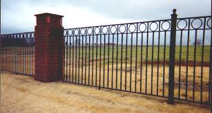 wrought iron fence designs. Unique Designs Wrought Iron Fence With Rings And Brick Posts Throughout Wrought Iron Fence Designs H