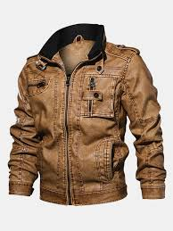 <b>Mens Casual</b> Moto Leather Jacket <b>Multi Pockets</b> Cool Pu Leather ...