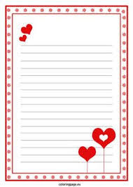 Valentines Day Letter Template Valentines Day Writing Paper For Kids Printable Lined Writing