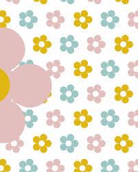 Behang Bloemen Geel Roze Tinklecherry