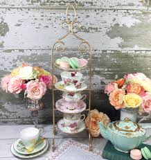 Tea Cup And Saucer Display Stand Gold 100 Tier Coated Metal Vintage Tea Cup and Saucer Display Stand 8