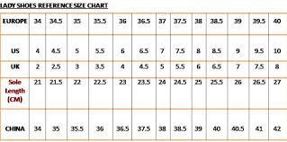 Wonderful World Of Shoes Shoe Size Chart