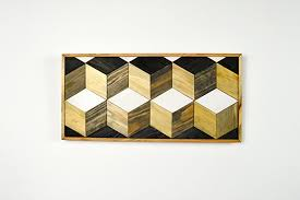 reclaimed lath wall. reclaimed lath wall art made from wood with geometric cube pattern o