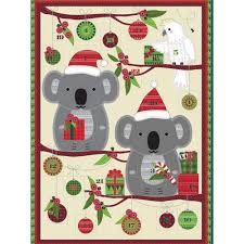 Australian Bush Christmas Koala Advent Panel Quilting Patchwork Fabric