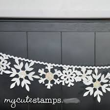 6) Using white thread, hand sew each snowflake to ric rac or ribbon to make  your snowflake garland. 7) Find a fun place to hang your garland and enjoy!