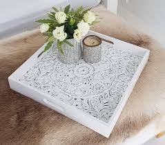 Your coffee table is such an important part of your living room, so it's important it is designed to the nines. Decorative Trays Display Tray Decorative Serving Tray For Ottomans Large Square With Handles Parties White Carved Wooden Serving Trays For Coffee Tables Breakfast In Bed Home Decor 15 75 X 15 75 Inches Lillee