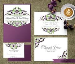 Purple And Green Wedding Invitation Template Invitation