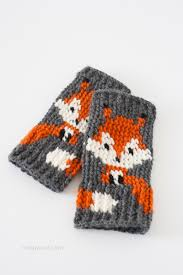 Fox Knitting Chart Fox Fingerless Gloves Crochet Pattern One Dog Woof