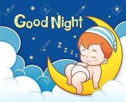 ilration of cartoon cute baby sleeping on the moon with good night text stock vector