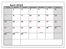 Professional Calendar Template Best 2019 Calendar April With Holidays Download Professional