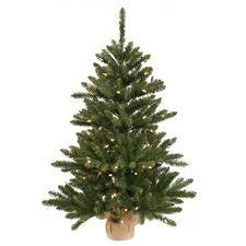 24 Inch Anoka Pine Artificial Christmas Tree - Burlap Base - 35 Clear Lights