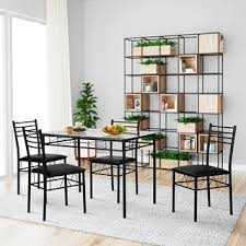 VECELO Dining Table Set Glass Table and 4 Chairs Metal Kitchen Room
