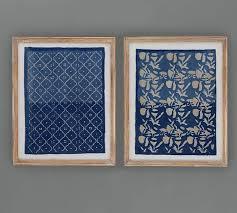 on framed blue wall art set with framed blue textile art pottery barn