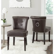 safavieh en vogue dining sinclair antique brown bonded leather ring chairs set of 2