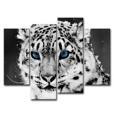 4 piece wall art painting blue eye snow leopard prints on canvas the picture animal pictures on snow leopard canvas wall art with 4 piece wall art painting blue eye snow leopard prints on canvas the